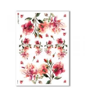 FLOWERS-0131. Papel de Arroz flores para decoupage.