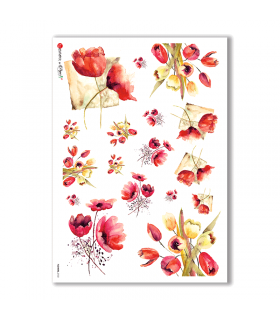 FLOWERS-0132. Carta di riso fiori per decoupage.