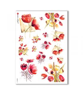 FLOWERS-0132. Papel de Arroz flores para decoupage.