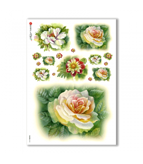 FLOWERS-0133. Carta di riso fiori per decoupage.