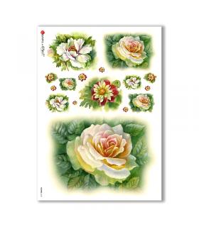 FLOWERS-0133. Papel de Arroz flores para decoupage.