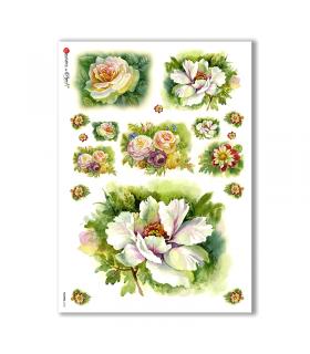 FLOWERS-0134. Carta di riso fiori per decoupage.