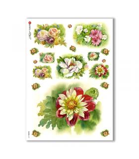 FLOWERS-0135. Papel de Arroz flores para decoupage.