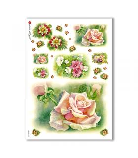 FLOWERS-0136. Papel de Arroz flores para decoupage.