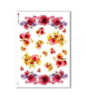 FLOWERS-0138. Papel de Arroz flores para decoupage.