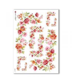FLOWERS-0139. Papel de Arroz flores para decoupage.