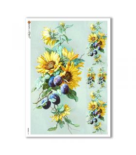 FLOWERS-0140. Papel de Arroz flores para decoupage.