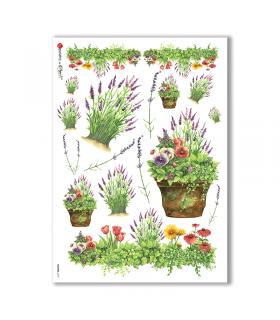 FLOWERS-0137. Carta di riso fiori per decoupage.