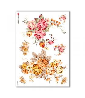 FLOWERS-0141. Papel de Arroz flores para decoupage.