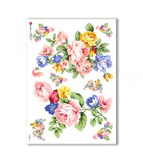 FLOWERS-0142. Carta di riso fiori per decoupage.