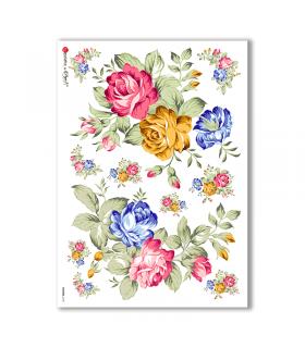 FLOWERS-0143. Carta di riso fiori per decoupage.