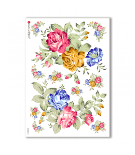 FLOWERS-0143. Papel de Arroz flores para decoupage.