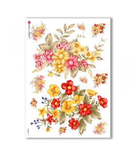 FLOWERS-0144. Carta di riso fiori per decoupage.