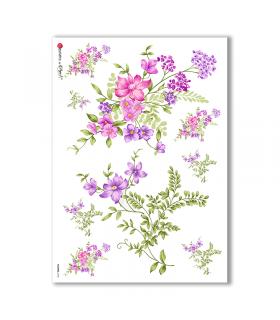 FLOWERS-0145. Papel de Arroz flores para decoupage.