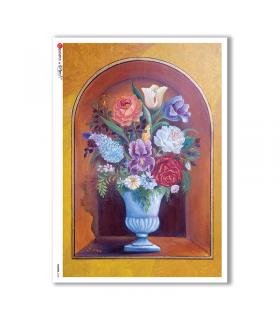 FLOWERS-0150. Papel de Arroz flores para decoupage.