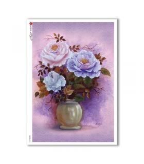 FLOWERS-0152. Papel de Arroz flores para decoupage.