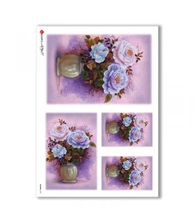 FLOWERS-0153. Carta di riso fiori per decoupage.