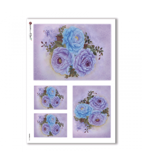 FLOWERS-0154. Carta di riso fiori per decoupage.