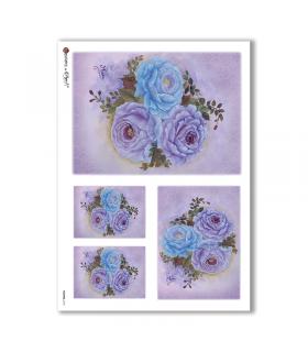 FLOWERS-0154. Papel de Arroz flores para decoupage.
