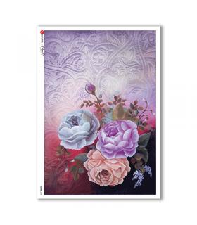 FLOWERS-0155. Carta di riso fiori per decoupage.