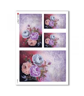 FLOWERS-0156. Papel de Arroz flores para decoupage.
