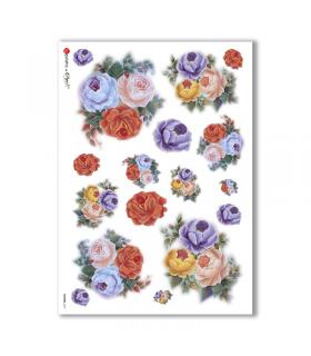 FLOWERS-0157. Papel de Arroz flores para decoupage.
