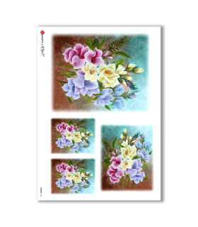 FLOWERS-0162. Carta di riso fiori per decoupage.
