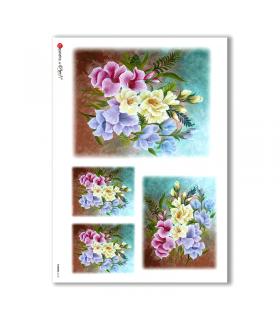 FLOWERS-0162. Papel de Arroz flores para decoupage.
