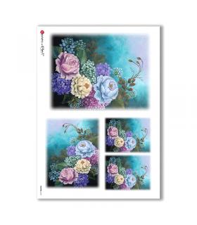 FLOWERS-0163. Papel de Arroz flores para decoupage.