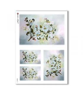 FLOWERS-0164. Carta di riso fiori per decoupage.
