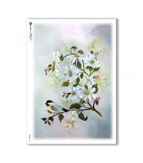 FLOWERS-0165. Papel de Arroz flores para decoupage.