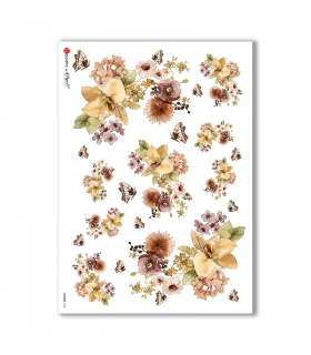 FLOWERS-0166. Carta di riso fiori per decoupage.