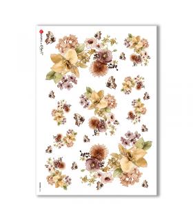 FLOWERS-0166. Papel de Arroz flores para decoupage.