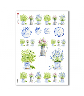 FLOWERS-0168. Carta di riso vittoriana fiori per decoupage.