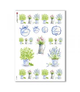 FLOWERS-0168. Papel de Arroz victoriano flores para decoupage.