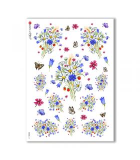 FLOWERS-0169. Carta di riso vittoriana fiori per decoupage.