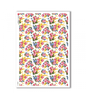 FLOWERS-0170. Carta di riso vittoriana fiori per decoupage.