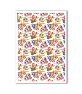 FLOWERS-0170. Papel de Arroz victoriano flores para decoupage.