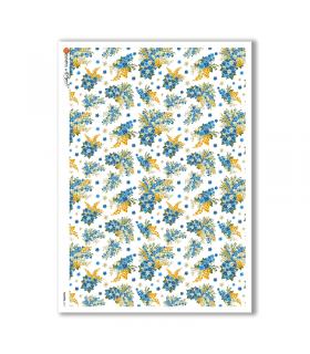 FLOWERS-0171. Carta di riso vittoriana fiori per decoupage.