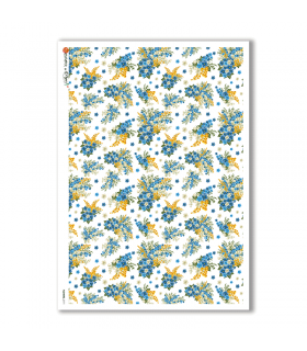 FLOWERS-0171. Papel de Arroz victoriano flores para decoupage.