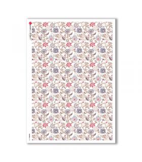 FLOWERS-0173. Carta di riso fiori per decoupage.