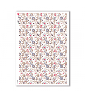 FLOWERS-0173. Papel de Arroz flores para decoupage.