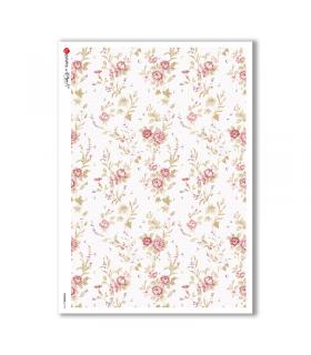 FLOWERS-0174. Papel de Arroz victoriano flores para decoupage.