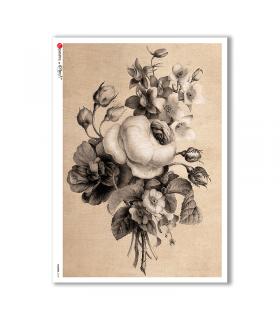 FLOWERS-0184. Carta di riso vittoriana fiori per decoupage.