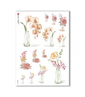 FLOWERS-0185. Papel de Arroz flores para decoupage.