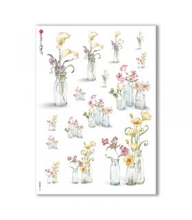 FLOWERS-0186. Carta di riso fiori per decoupage.