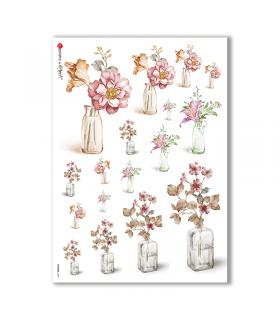 FLOWERS-0187. Papel de Arroz flores para decoupage.