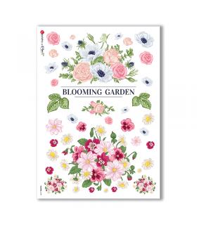 FLOWERS-0188. Papel de Arroz flores para decoupage.