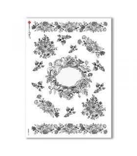 FLOWERS-0189. Carta di riso vittoriana fiori per decoupage.