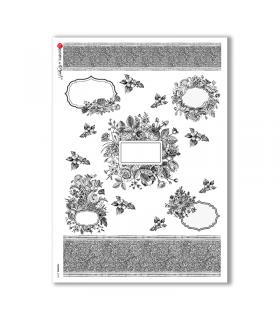 FLOWERS-0190. Carta di riso vittoriana fiori per decoupage.